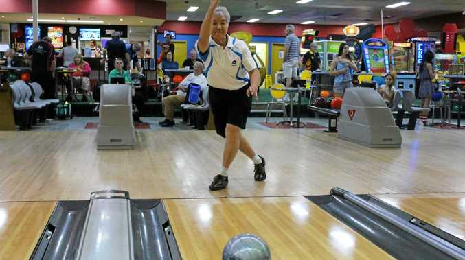 STRIKING FORM: Rockhampton's Judith Buehow in action on the last day of the Pan Pacific Masters Games.