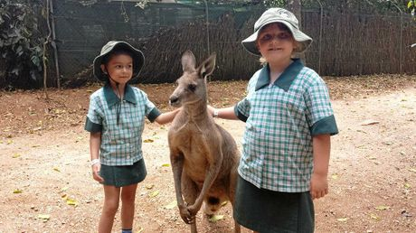 Elizabeth and Monique with a furry friend, and (below) River meets an emu.