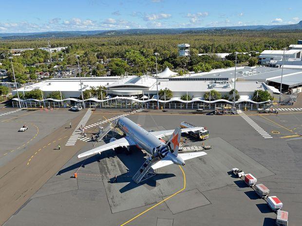 Aerials of the Sunshine Coast.Jetstar plane in front of the Susnhine Coast terminal, Sunshine Coast Airport.