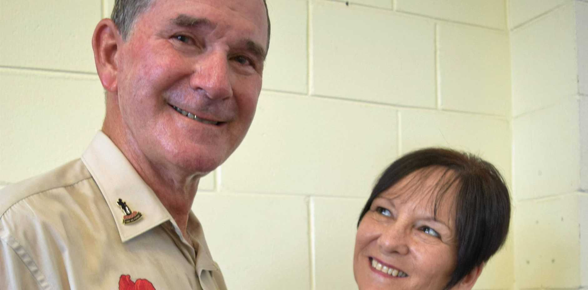 SERVICE RECOGNISED: Bryan and Sandra Ottone at the Emerald Bowls Club.
