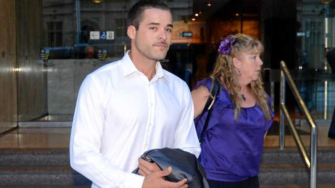 Corey Barker (left) leaves the Police Integrity Commission (PIC) with his mother Angelique Sines (right) after giving evidence in Sydney in 2013.