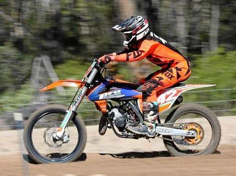 Adam Smerdon, 13, in action on his KTM bike.