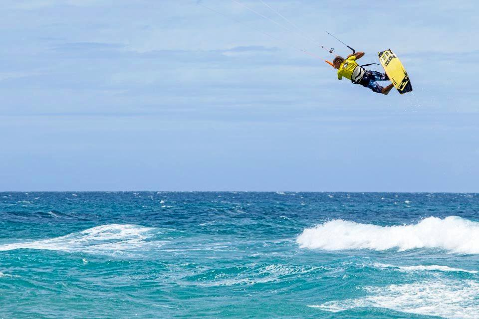 Col Sanders throws up a big air at Round One of the Australian Kiteboarding Championships on the Gold Coast in 2015.