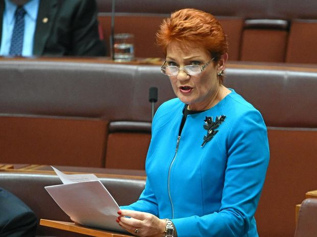 FOCUS: One Nation leader Senator Pauline Hanson makes her maiden speech in the Senate in Canberra.