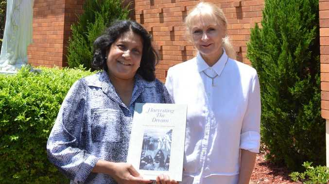 "St Vincent's Private Hospital Toowoomba Mission Director Darlene Dreise and CEO Kathryn McKeefry pictured outside the hospital chapel. The chapel's history is outlined in the St Vincent's book ""Harvesting the Dream""."