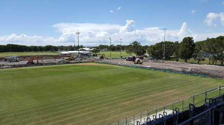 Work begins on the Sunshine Coast Stadium upgrade.