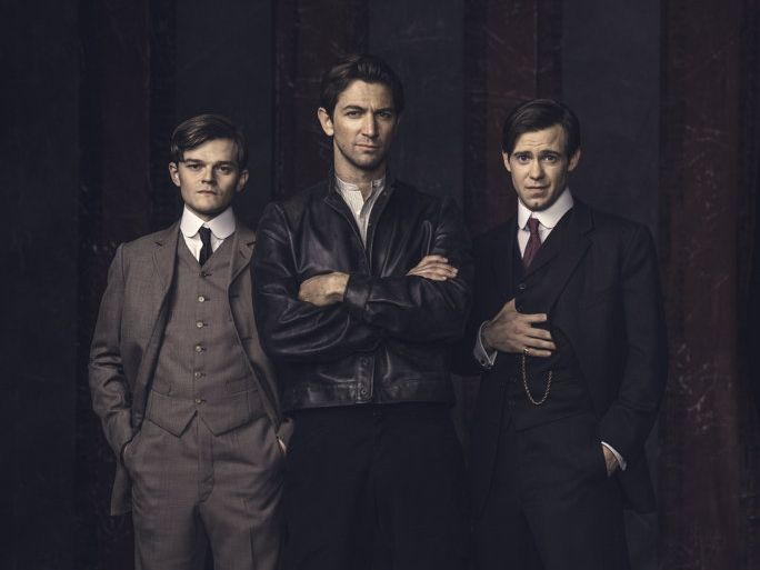 Robert Aramayo, Michiel Huisman and Bug Hall star in the TV series Harley and the Davidsons.