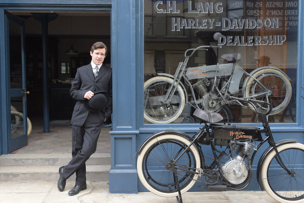 Bug Hall in a scene from the TV series Harley and the Davidsons.