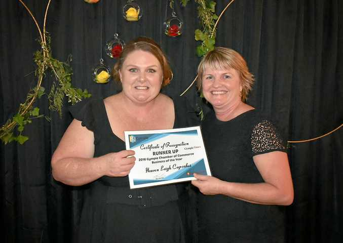 SECONDS: Leigh Clouston of Heaven Leigh Cupcakes accepts the runner-up prize from Tracey McKean.