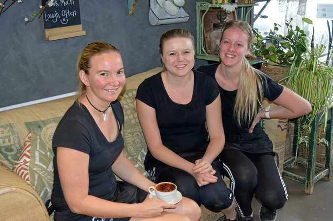 BUSINESS BOOMING: Some of the team from Farmer & Sun Cafe take a coffee break in the relaxed surroundings (from left) Kirra Chandler, Sharla Watson and Karmon Stoker.