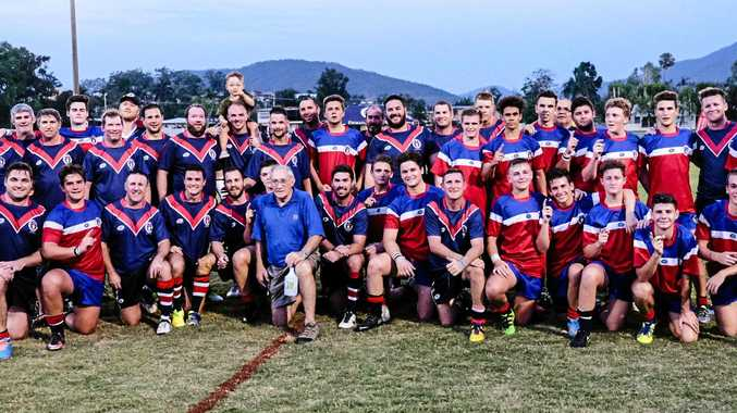 WELL PLAYED: The Emmaus College Old Boys and First XIII players are all smiles after their entertaining showdown on Saturday.
