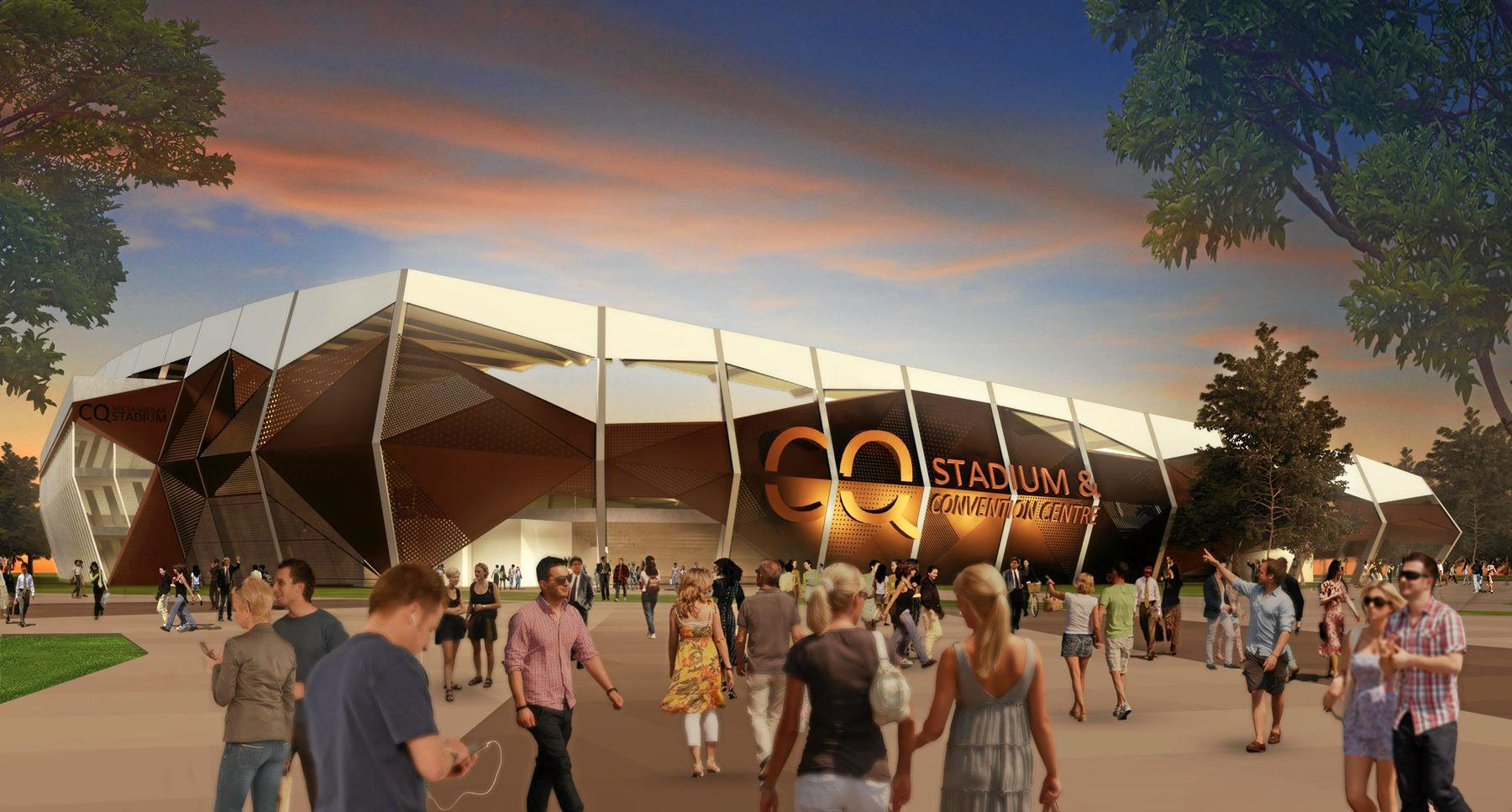 An artist's impression of Rockhampton's proposed stadium and convention centre.
