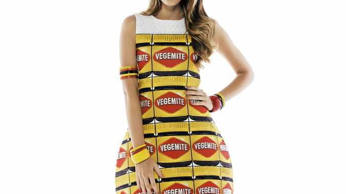 FINGERS CROSSED: Megan Dive, Studio Evolve founder, has made a Vegemite dress for Miss World Australia. It's been selected as one of four finalist Australiana-themed dresses.