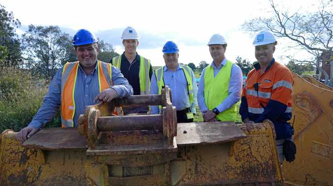 Councillor Richie Williamson, Ian Feek from Ridgemill, Clarence Valley Council general manager Scott Greensill and Shaun Spry and Matt Hunter from Hutchinsons Builders at the South Grafton super depot site when work started in August.