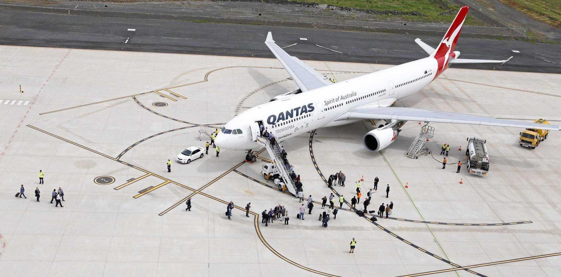 First international passenger flight from Brisbane West Wellcamp Airport.