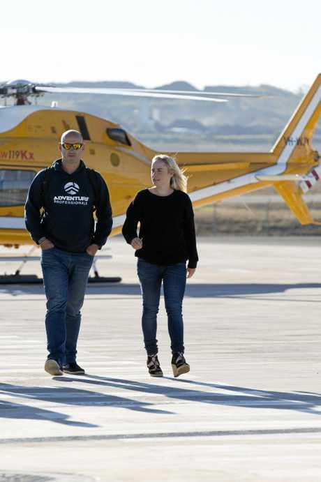 Glenn and Alyssa Azar arrive at Wellcamp Airport.