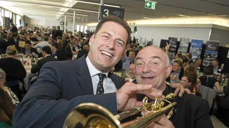 TV presenter Karl Stefanovic and jazz legend James Morrison arrive at the airport for charity lunch It's A Bloke Thing.