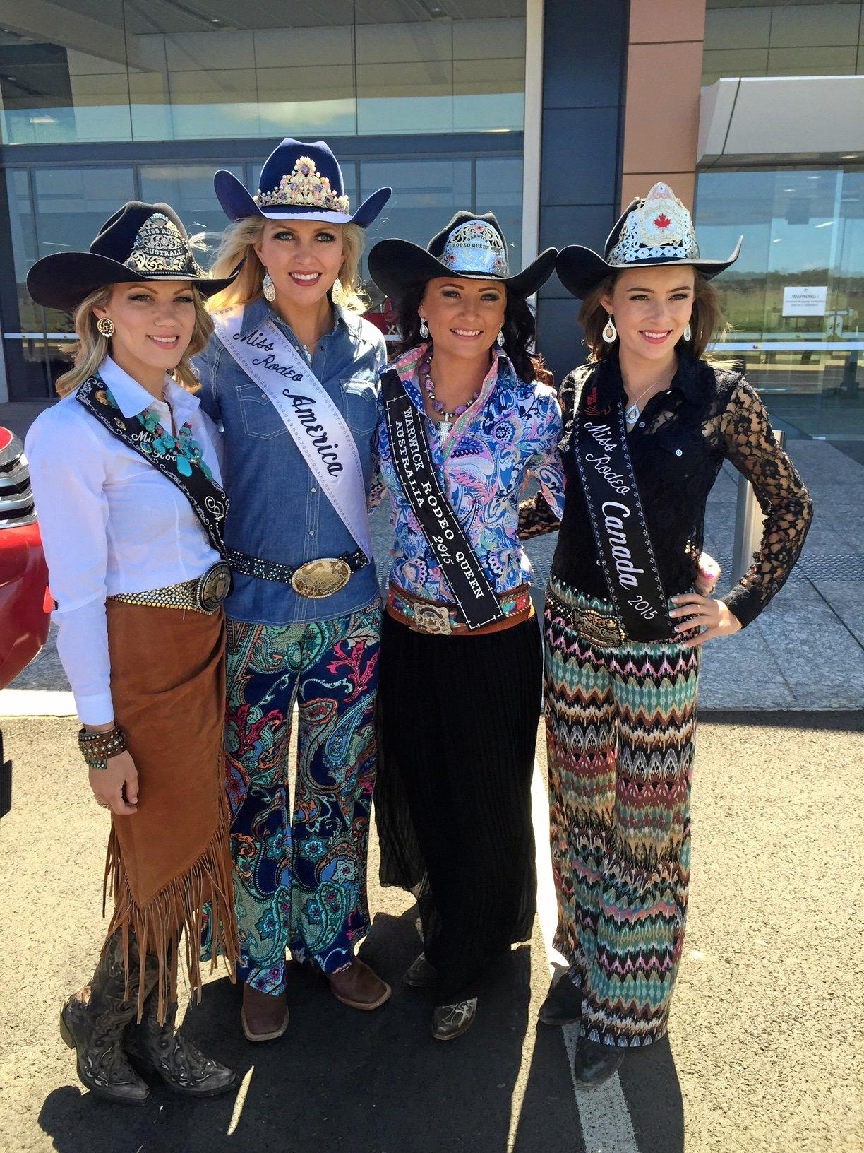 Miss Rodeos (from left) Australia's Danika Boland, America's Lauren Heaton, Warwick's Georgie Stower and Canada's Katy Lucas arrived at Wellcamp airport.