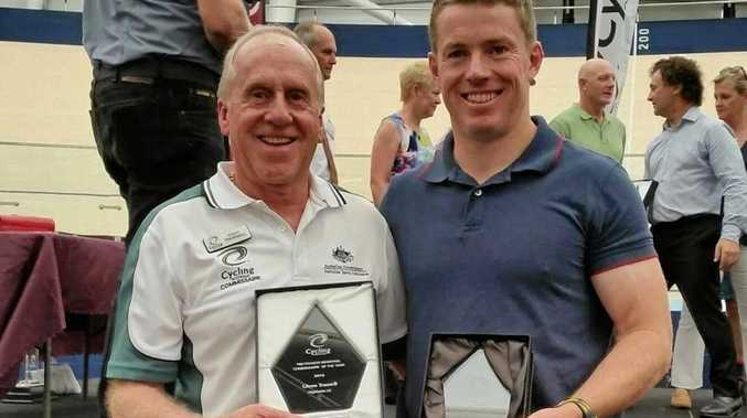 AWARD WINNERS: Toowoomba cycling members Glenn Trussell and Nathan Graves with their awards from the Cycling Queensland awards presentation at Anna Meares Velodrome.