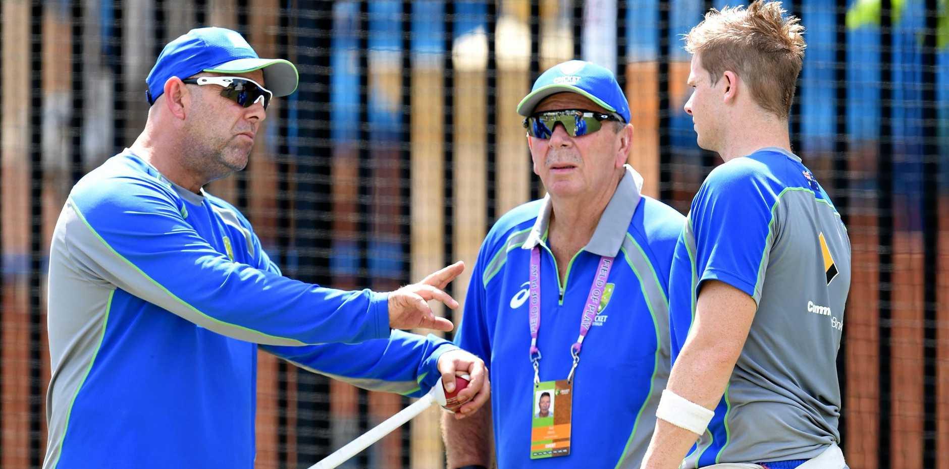 Australian selector Rod Marsh (centre) with coach Darren Lehmann and captain Steve Smith during a team net session.