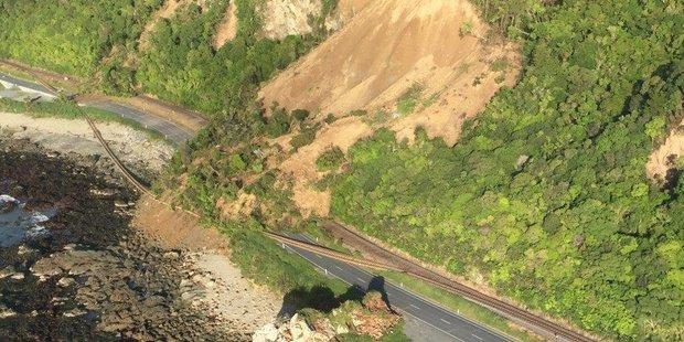 A slip on State Highway One near Kaikoura. Photo / Twitter