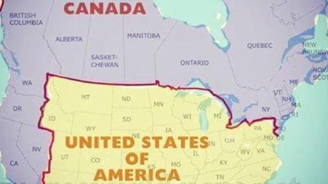 A map in which Washington, Oregon, California and Nevada are all part of Canada. Picture: freeworldmaps.net