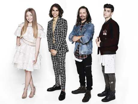 The X Factor 2016 grand finalists, from left, Amalia Foy, Isaiah Firebrace, Davey Woder and Vlado Saric.