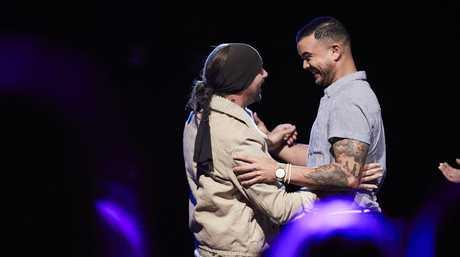 X Factor finalist Davey Woder with his mentor Guy Sebastian.