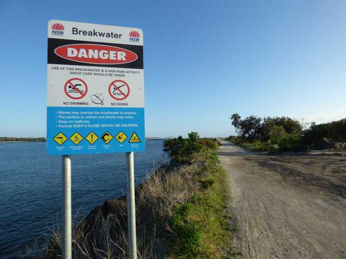 BREAKWATER: The Yamba breakwall on the morning after a Yamba man drowned while fishing.