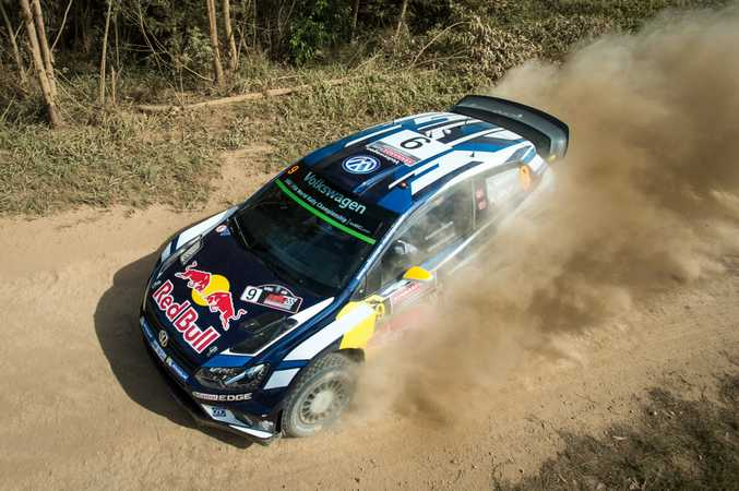 Volkswagen's Andreas Mikkelsen tears up the dust during today's Kennards Hire Rally Australia shakedown in the Wedding Bells State Forest, west of Woolgoolga.