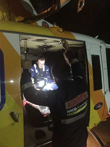A 91-year-old man was airlifted to hospital after a truck and car crash.