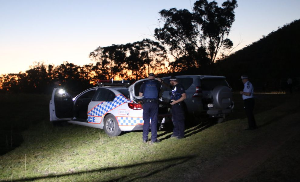 Police remain on scene at a Freestone property this evening where a man has died after being shot by police.