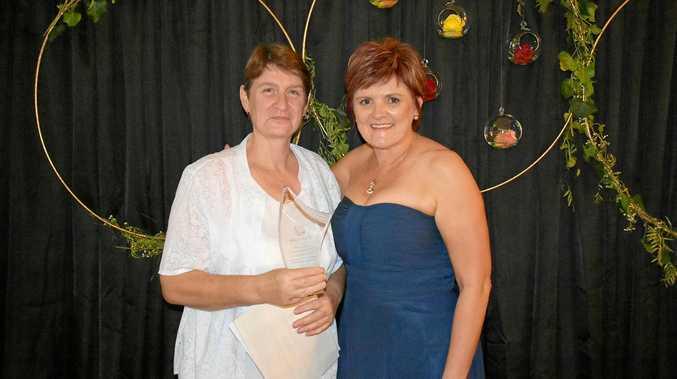 THRILLED: Chamber of Commerce Customer Service Award winner Judith Grantham, of Picnicin, with sponsor Sharlene Makin, of Roadcraft.