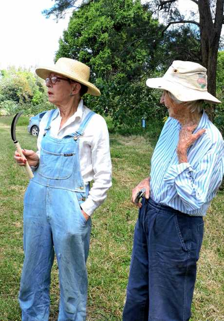 GREAT TIP: Sally Mackay (left) shows the special tool for cutting cat's claw to Gillian Crossley. The tip is pushed under the vine attached to the tree trunk and levered upwards cutting the vine and stopping flowering.