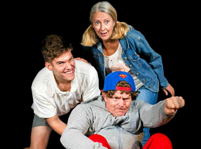 YOUNG AT HEART: Hating Alison Ashley cast members Barry Hollis (Oscar Kennedy Smith), Oscar (Julian White) and Diane Harper (Kirsty White).