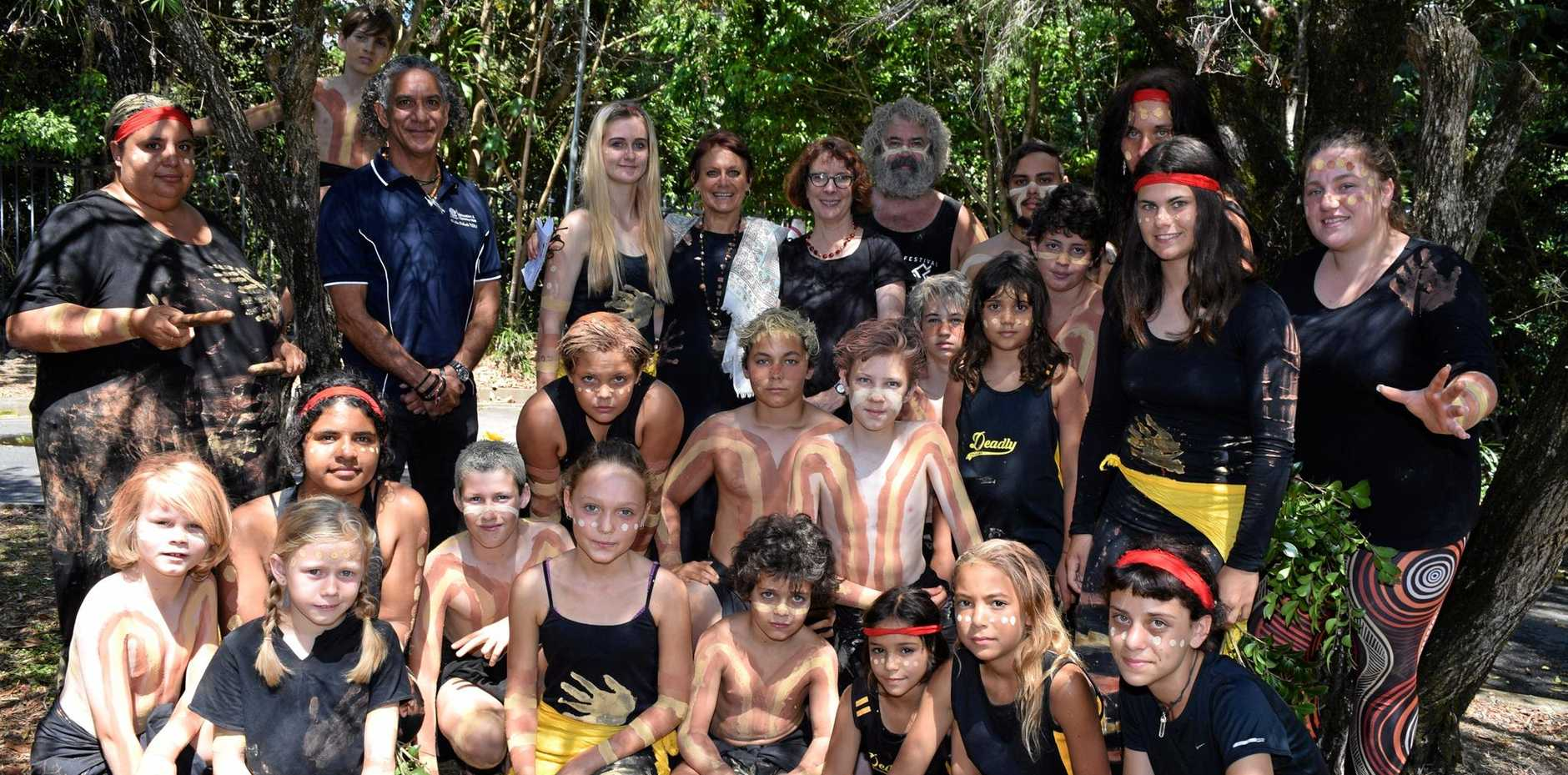 INDIGENOUS AWARDS: The Deadly Dancers and Ballina Aboriginal Dancers get ready to open the 2016 Aboriginal Education Awards.