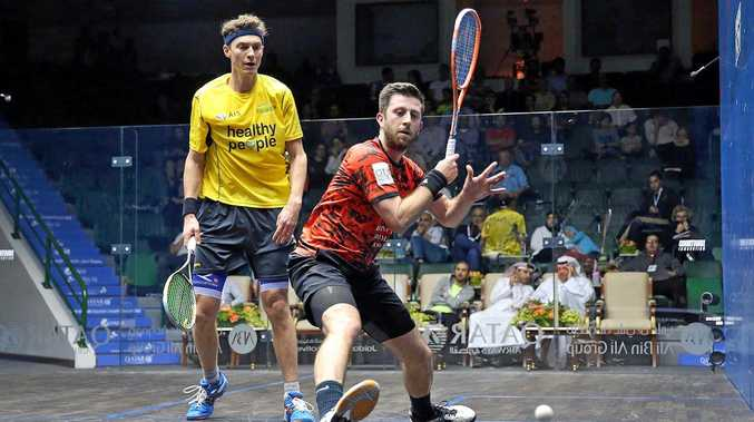 Cameron Pilley (left) in action against England's Daryl Selby in the Qatar Classic quarter-finals in Doha.