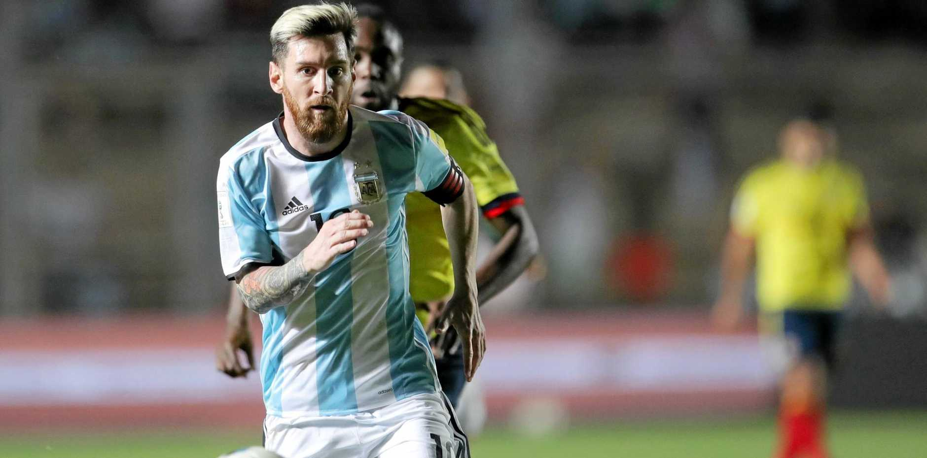 Argentina's Lionel Messi in action against Colombia in a 2018 World Cup qualifier in San Juan.