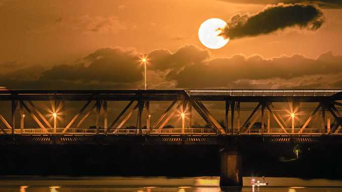 Anthony Duffy's capture of the supermoon on Tuesday shot past the Grafton Bridge.