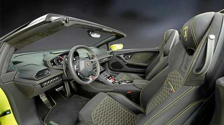 Inside the Lamborghini Huracán rear-wheel drive Spyder.