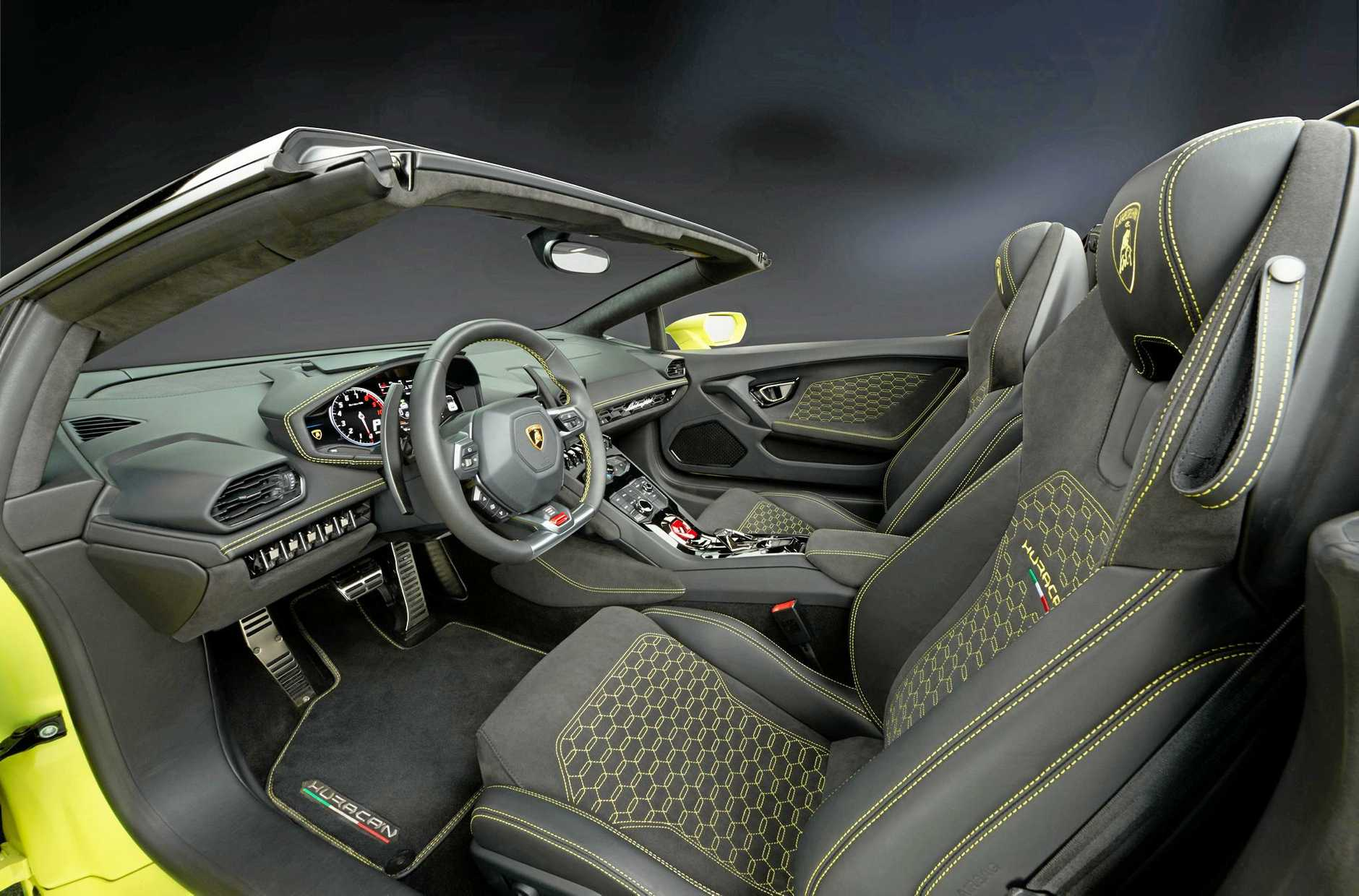 Inside the Lamborghini Huracán rear-wheel drive Spyder.