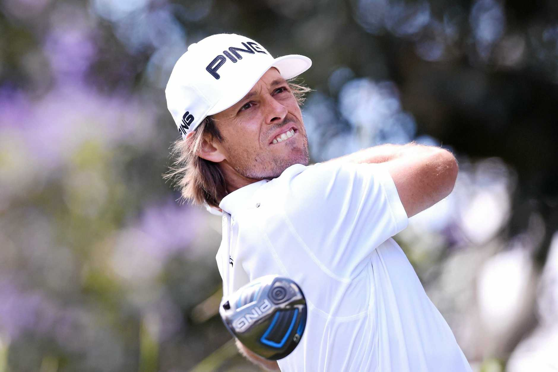 Australian Aaron Baddeley tees off on the second hole during the pro-am for the Australian Open at Royal Sydney.