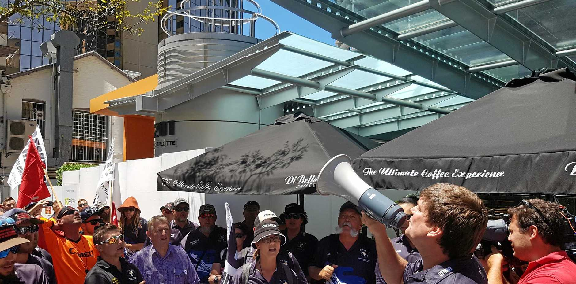 German Creek CFMEU members protest outside mine owner Anglo American's Brisbane offices in October.