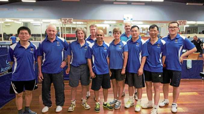 CHALLENGE COMPETITORS: Toowoomba table tennis players (front, from left) Jason Wang, Neil Sheriff, Warren Riethmuller, Rabi Misra, Leonie Cook, Xike Zhang, Zhongwei Zhang, Zhen Zhang, (back, from left) Justin Jones and Ian Polkinghorne at the Border Challenge.