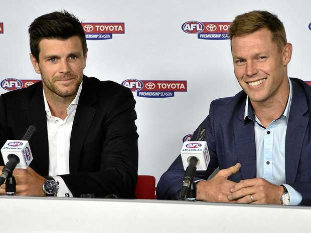 Trent Cotchin (left) and Sam Mitchell address the media after being retrospectively named the 2012 Brownlow Medallists.