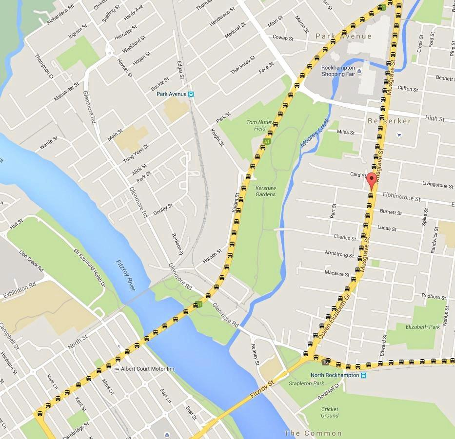 A map of the predicted route road trains will travel through Rockhampton.