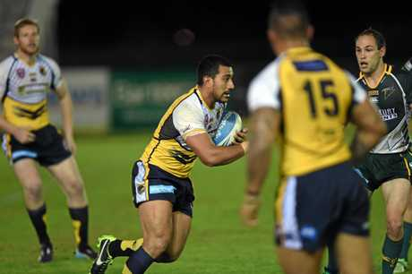 Jacob Samoa on a run in the rugby league match between Sunshine Coast Falcons and Ipswich Jets. Photo: Iain Curry / Sunshine Coast Daily