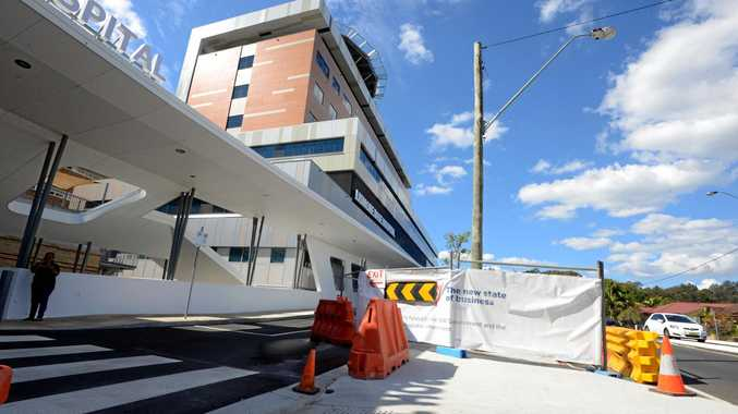 Workmen were busy on site at Lismore Base Hospital, with the emergency department before it was finished.
