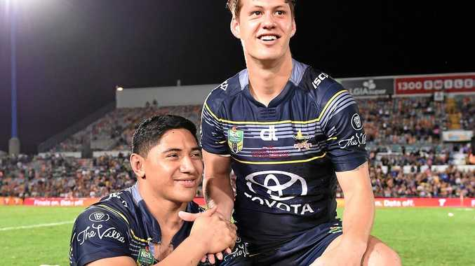 Cowboys players Jason Taumalolo (left) and Kalyn Ponga.