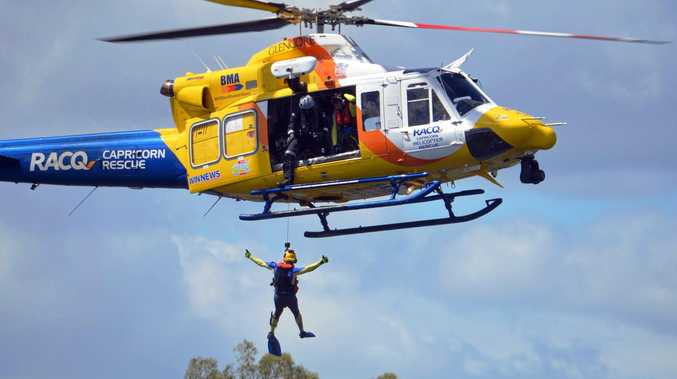 FLYING HIGH: One -of the live demonstrations by the RACQ Capricorn Rescue Helicopter Service
